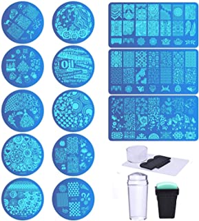 Biutee Set de Stamping Nail Art 13 Pcs Placas Estampacion Uñas +2 Pcs Estampador+2Pcs Raspador Para Manicura