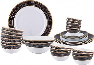 LaOpala Regent Blue Sovrana Collection Opalware Dinner Set, 33 Pieces, White