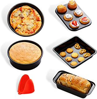Cooking & Baking Set 5 Piece Non Stick Bakeware and cooking pan set– Food Grade Carbon Steel Cake, Toast, Pizza Tray, & De...