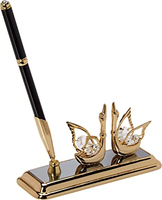 24K Gold Plated Executive Desk Set with Crystal Topped Pen and Gold Swan Ornament by Matashi