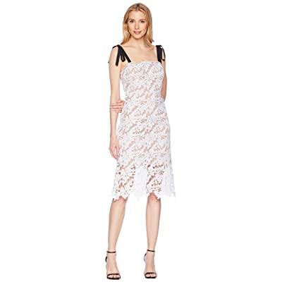 Donna Morgan Lace Dress with Contrast Self-Tie Shoulder (Ivory) Women