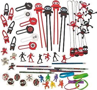 Fun Express Ninja Birthday Party Favors Assortment - Bulk Set of 50 Pieces - Karate Theme Party Supplies and Handouts