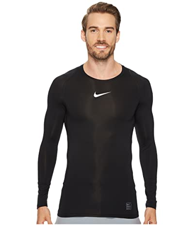 Nike Pro Compression Long Sleeve Training Top (Black/White/White) Men