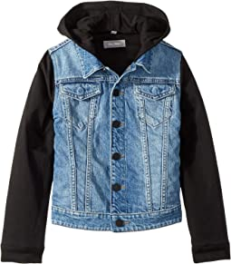 Manning Mid Wash Denim Jacket with Black Knit Sleeves and Hood (Big Kids)
