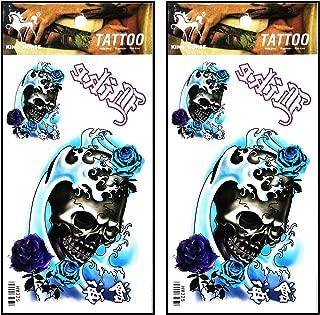 Tattoos 2 Sheets Horror Skull Rose sea Wave Blue Tattoos Body Art Up Makeup Temporary Tattoos Sticker Fashion for Man Women Girls Lower Back Shoulder Neck Arm
