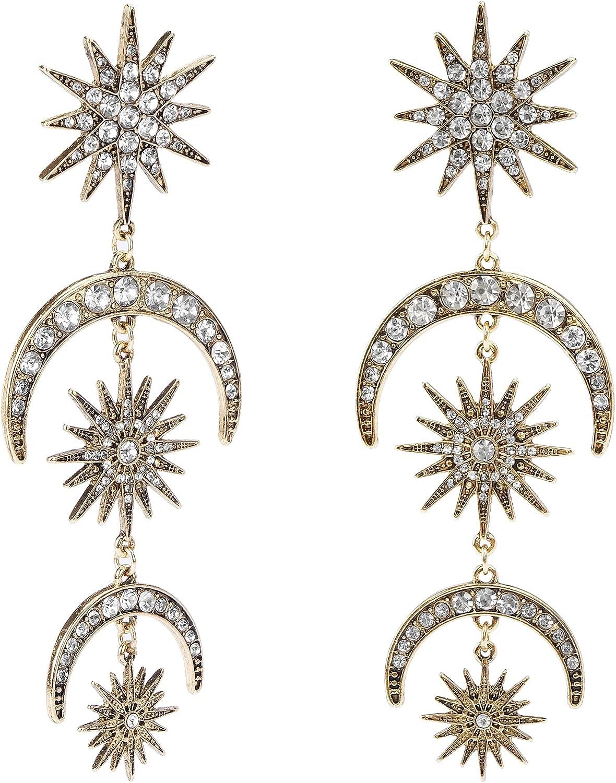 everglow Dangle Earrings for Women Girls, Fashion Jewelry, Cute Gold Dangly, Sun Moon Stars Drop Earrings, Rhinestone Punk Earrings for Women, Golden Boho Vintage Earrings