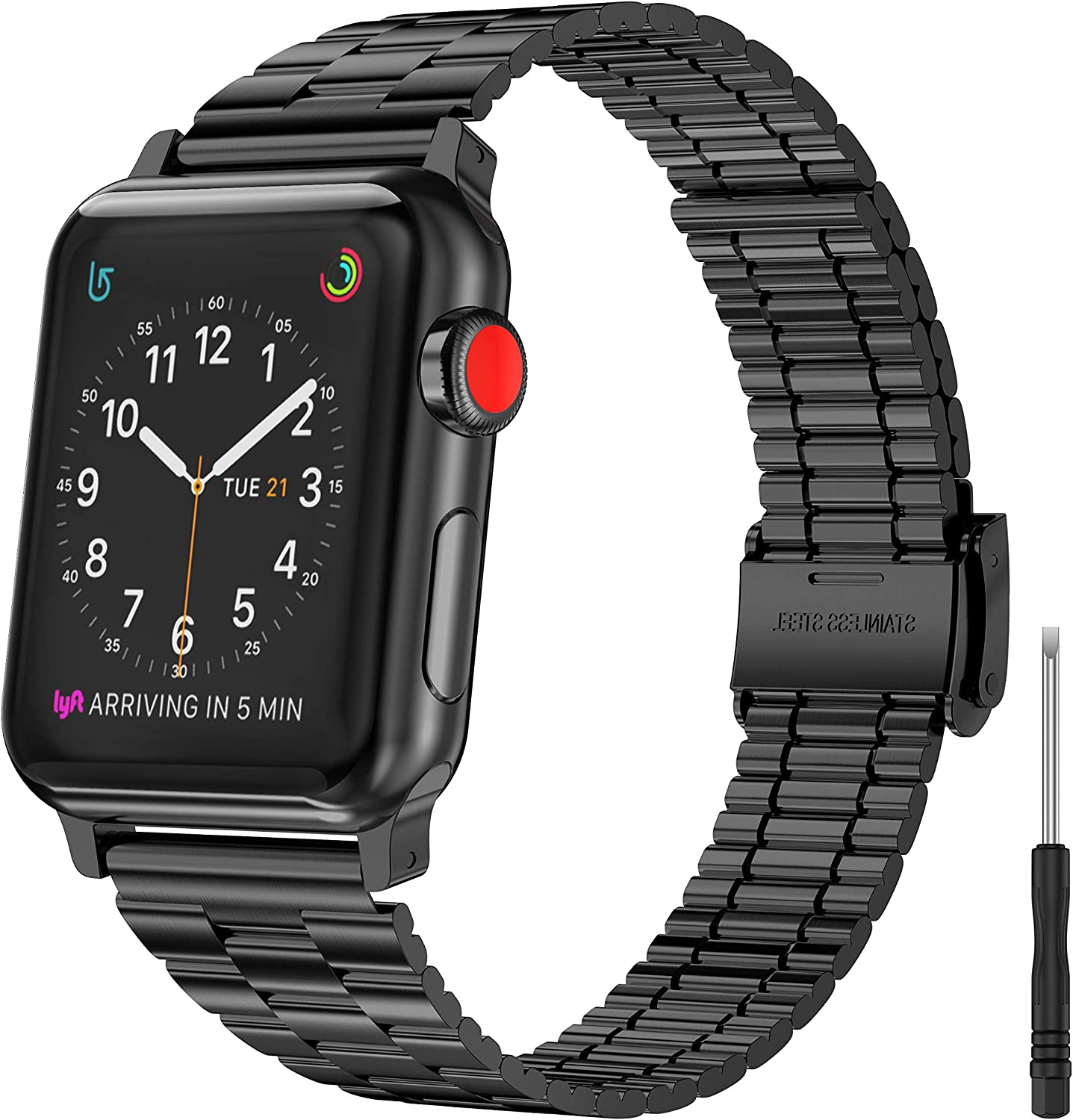 Moolia Metal Band Compatible with Apple Watch 41mm 38mm 40mm, Women Stylish Ultra-Thin Stainless Steel iWatch Wristband Strap Bracelet for iWatch Series SE 7 6 5 4 3 2 1, Black