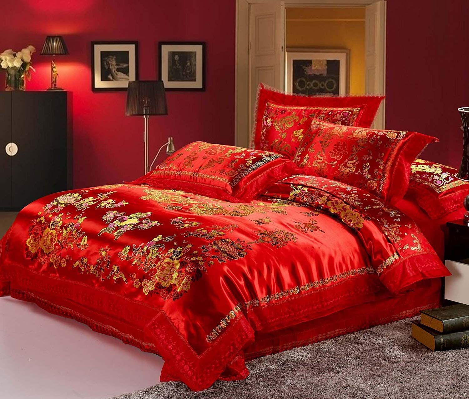 Norson Chinese Traditional Red Sheet Asian Bedding Queen with Dragon and Phoenix Bird Embroidery Duvet Cover Set 4pcs(King, style5)