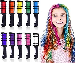 Kalolary 10 kleur Haarkrijt Kinderen haar krijt kam, Tijdelijk haar krijt kleur set, Mini Instant haar krijt kam voor kind...