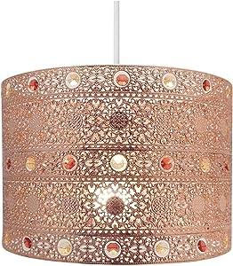 Lámpara de techo de cobre estilo marroquí con forma de araña para lámpara de techo, redonda, universal, cobre
