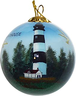 Art Studio Company Hand Painted Glass Christmas Ornament - Bodie Island Lighthouse
