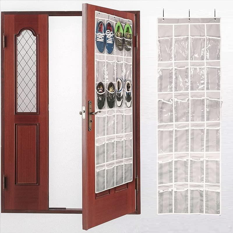 AOTUNO Over The Door Shoe Organizer 24 Reinforced Pockets 64 X 19 Gray