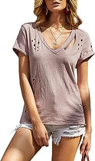 Womens Short Sleeve V Neck Summer Shirts Basic Tees Casual Blouses Top