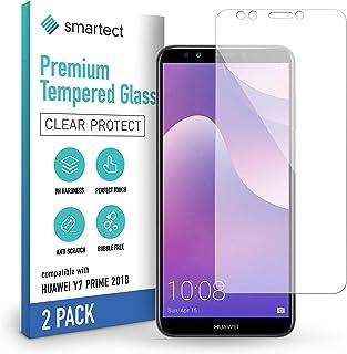 smartect 9H Skärmskydd i härdat glas kompatibel med Huawei Y7 Prime 2018 [2-Pack] - Ultratunn design - Anti-rep-fingeravtr...