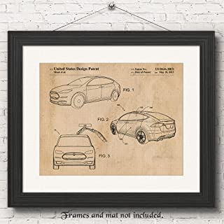 Original Tesla Model X Patent Art Poster Prints, Set of 1 (11x14) Unframed Photo, Great Wall Art Decor Gifts Under 15 for Home, Office, Garage, Man Cave, Teacher, Student, Electric Cars & Coffee Fan