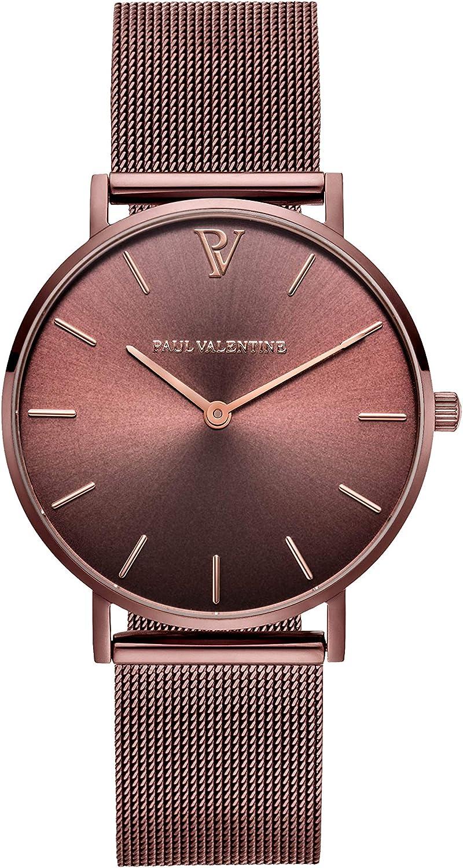 PAUL VALENTINE ® Reloj de Pulsera para Mujer con Correa de Malla - 32, 36 o 38 mm Esfera metálica - Elegante Reloj Mujer con Mecanismo de Cuarzo japonés
