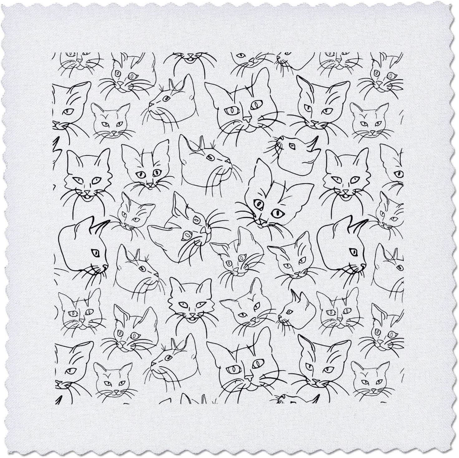 3dRose Janna Salak Designs Line Faces Cute - Cat Daily bargain sale Art Max 90% OFF