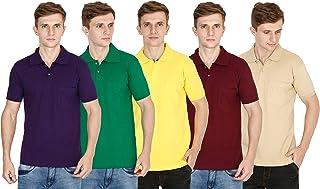 FLEXIMAA Men's Regular Fit Polo T-Shirt(Pack of 5)