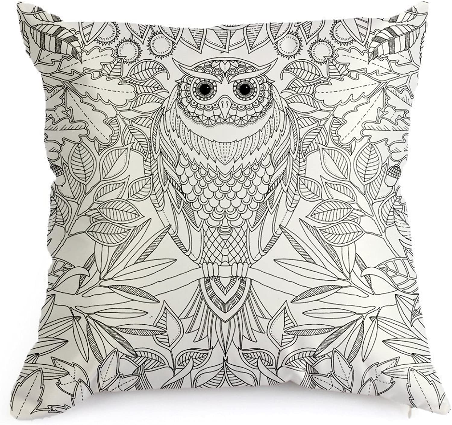 DIY coloring Pillowcase Fastness Cat Owl Pattern Graffiti Pillow Cover 18''x18'' with A Set of 12 Doodle color Pens (Cat Owl)