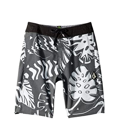 Volcom Kids Scrap Boardshorts (Big Kids) (Black/White) Boy