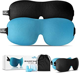 DIGITWHALE 3D Sleep Mask Pack of 2, Adjustable Eye Mask for Sleeping-Contoured Eyemask for Airplane, Shift Work, Naps with Silk Travel Pouch Bag&Ear Plugs-Night Blindfold Eyeshade for Men Women Kids