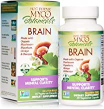 Host Defense, MycoBotanicals Brain, Promotes Concentration, Memory and Cognitive Functioning, Daily Mushroom and Herb Supplement, Vegan, Organic, 60 Capsules (30 Servings)