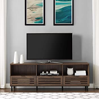 "Walker Edison Furniture Company Modern Slatted Wood 80"" Universal TV Stand for Flat Screen Living Room Storage Cabinets and Shelves Entertainment Center, 70 Inch, Dark Walnut"