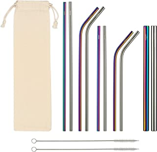 Stainless Steel Drinking Straws - Complete Set 10 Straws, 2 Brush Cleaners & Travel Case - Eco Friendly - Straight & Bent Plus Wide Smoothie/Boba Straws - Perfect for 20, 30oz. Yeti/RTC Tumblers etc.