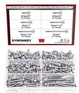 DYWISHKEY 160 Pieces 410 Stainless Steel #12 Hex Washer Head Self Drilling Sheet Metal Screws Assortment Kit