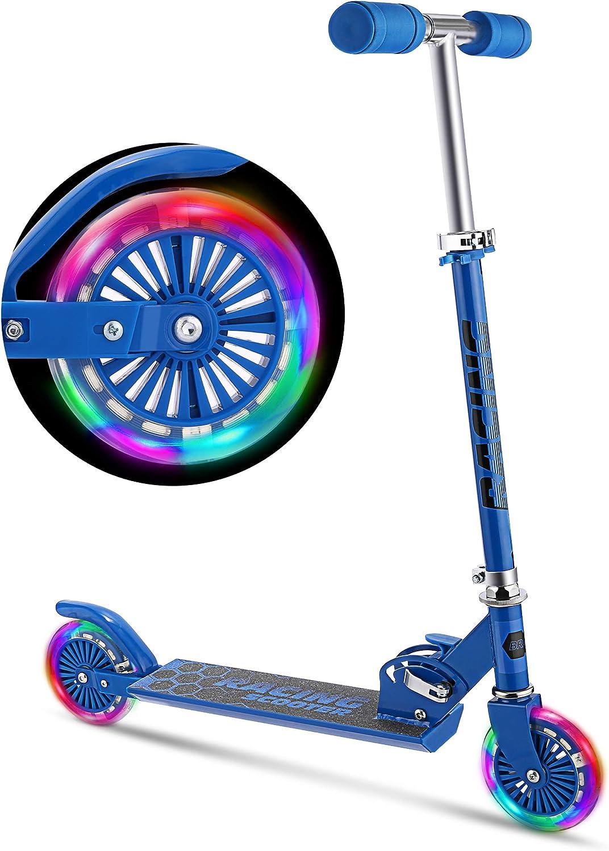 weskate B2Niños/Roller–Patinete para niños con ruedas de LED, altura ajustable Kick Roller freno para niños y niñas con pie, 5,29Lb ligero plegable Scooter de un 3–10años de niño con hasta 88.2