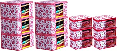 Heart Home Flower Design Non Woven 6 Piece Saree Cover/Cloth Wardrobe Organizer and 6 Pieces Blouse Cover Combo Set (Pink) - HEART2050