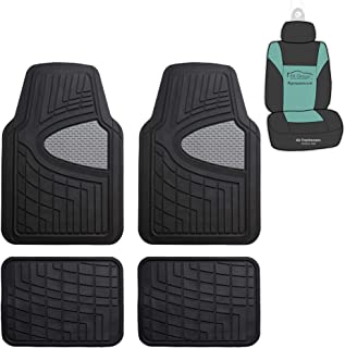 FH Group F11311 Premium Tall Channel Rubber Floor Mats w. Free Air Freshener, Gray/Black Color- Fit Most Car, Truck, SUV, or Van