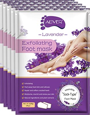 AIQIUSHA Foot Peel Mask 5 Pack, Lavender Exfoliating Foot Masks