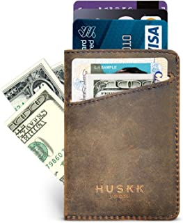 Wallets for Men Leather - Mens Wallets Front Pocket Card Holder Sleeve - CSC-DBCH-RFID