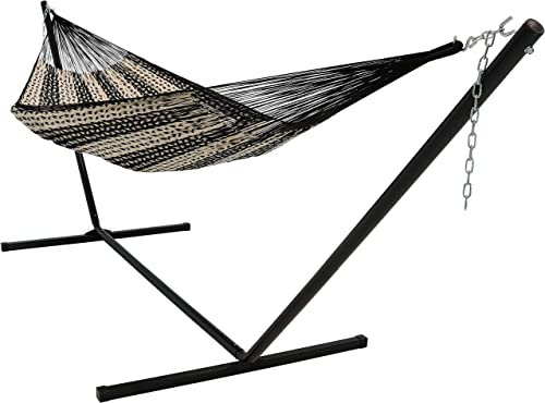 popular Sunnydaze online Mayan Family Hammock lowest Hand-Woven XXL Thick Cord with 15-Foot Stand, Heavy Duty 400-Pound Capacity, Black/Natural sale