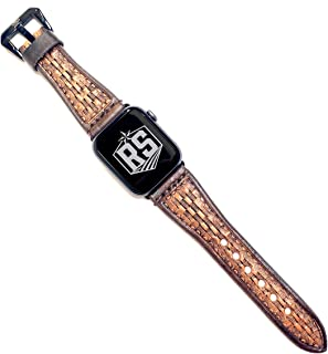 Western Series Watch Band Compatible with Apple Watches   Tapered Brown Basketweave Rose Gold Adaptor and Buckle 38MM   Handmade and Tooled Leather Watch Band for Men and Women