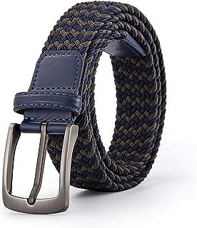Woven Elastic Braided Belt For Men - Fabric Stretch Casual Belts Zinc Alloy Buckl