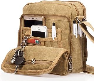 Outreo Canvas Shoulder Bag Men's Shoulder Bag Small Men's Vintage Messenger Bag Bags for School Messenger Tablet Canvas Bags Travel Bag Sports Tool Bags Sports Bag