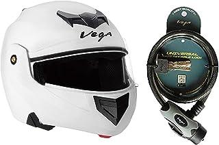 Vega Crux CRX-W-M Flip-up Helmet (White, M) and Vega Safety Cable Lock Dull Black Grey