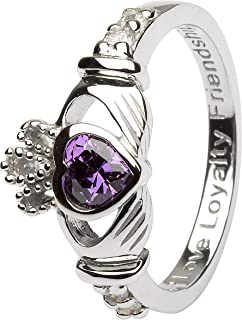 February Birth Month Sterling Silver Claddagh Ring LS-SL90-2. Made in Ireland.