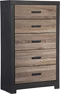 Ashley Furniture Signature Design - Harlinton Chest of Drawers - 5 Drawer Dresser - Contemporary Vintage - Warm Gray & Charcoal