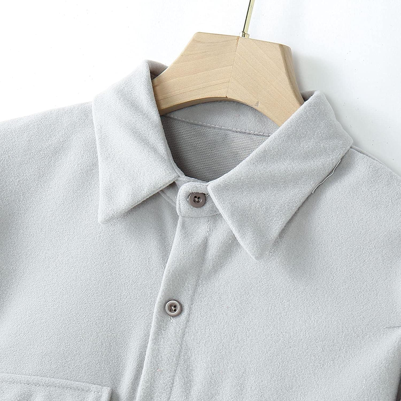 Huangse Men's Casual Medium Length Cardigan Jacket Solid Color Wool Long Sleeve Corduroy Coat Lapel Windbreaker Jacket