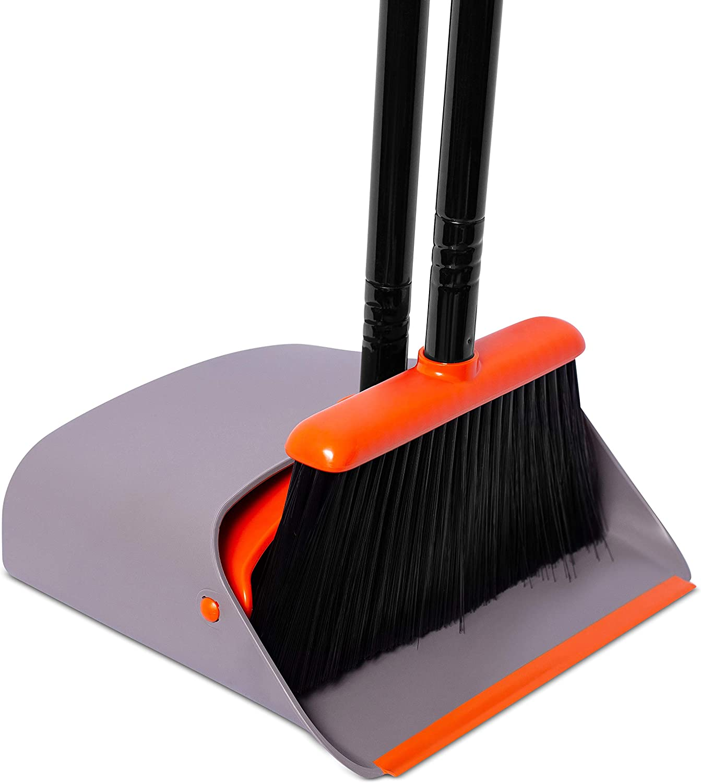 BirdRock Sale Home Broom and Dustpan Set - Orange Lobby an Pan Trust Dust