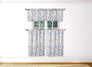 Vera Neumann  - Idella Multi-Color Floral Linen Textured Kitchen Tier & Valance Set | Small Window Curtain for Cafe, Bath, Laundry, Bedroom - (Blue)