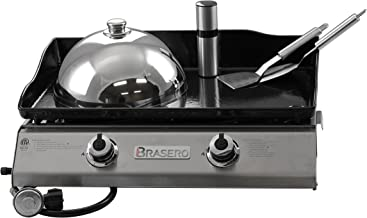 Brasero  Portable 26 inch outdoor Flat top Gas griddle -2 burners-Stainless steel Body-Heavy duty Enameled Cast iron Griddle