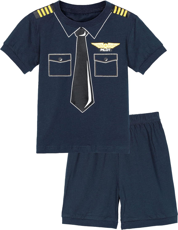 A&J DESIGN Toddler Pajamas Boys' Sleepwear Pilot Shorts Set 4T