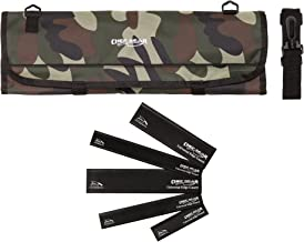 9 Pocket Professional Chef knife case knife roll bag chef bag with 5pc. Black knife Edge Guards CHEF GEAR by Ergo Chef … (Camouflage)