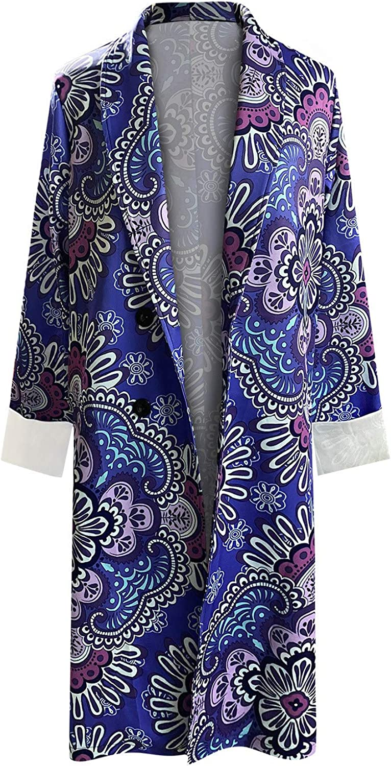 Forwelly Vintage Print Oversize Coat for Womens Ladies Double Breasted Trenchcoat Long Cardigan Winter Jacket