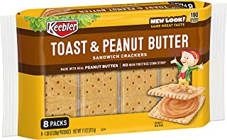 Keebler Toast and Peanut Butter Sandwich Crackers - Convenient School Lunch Snack, Single Serve 1.38 oz Bags (8 Count)