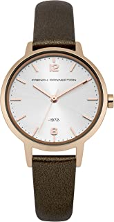 French Connection Women's Quartz Analog White Dial Watch for Women with Rose Gold Case and Brown Leather Strap analog Display and Leather Strap, FC1280TRG